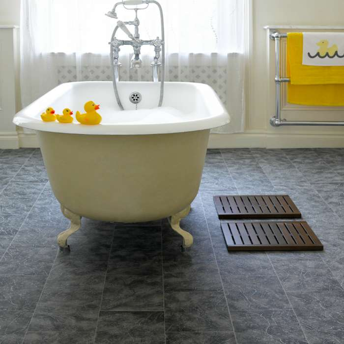 Steps to install vinyl floor covering in bathroom stepsto for Vinyl floor covering