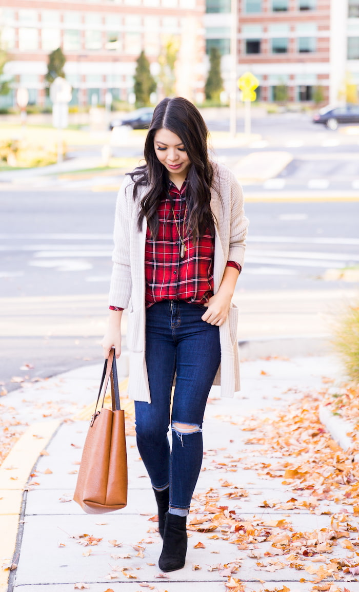 woman wearing plaid shirt 1