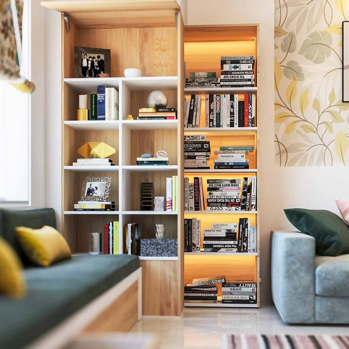 living room with decorative accessories and books