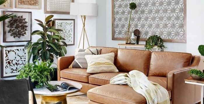 Leather sofa with décor in living room