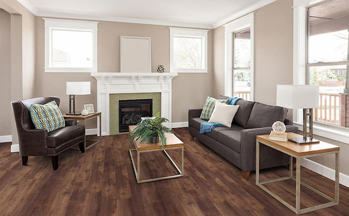 vinyl flooring for living room with brown sofa bed and two coffee tables