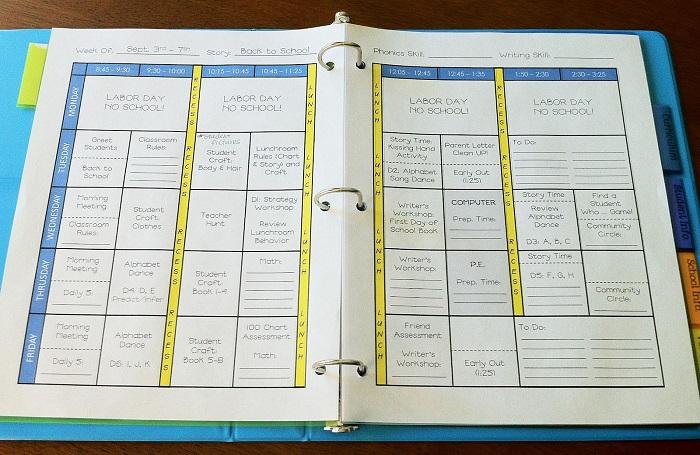 Filled teacher planner