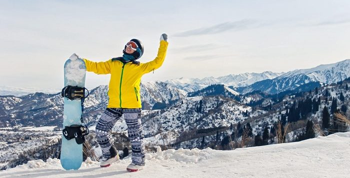 Lady in snowboard clothing