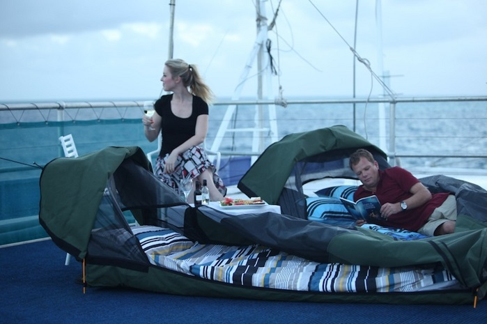 sleeping in swags on boat