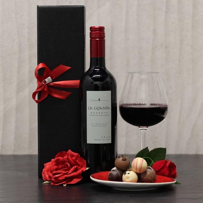 red wine and chocolates