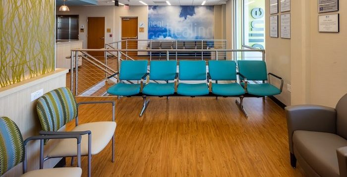 picture of a hospital waiting room with vinyl flooring