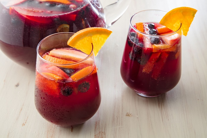 two glasses of sangria cocktail