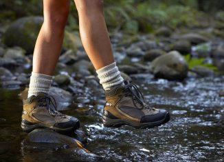 close-up of woman wearing hiking footwear