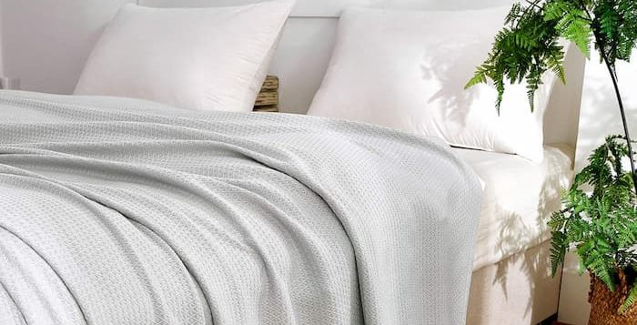 bamboo blanket on a bed