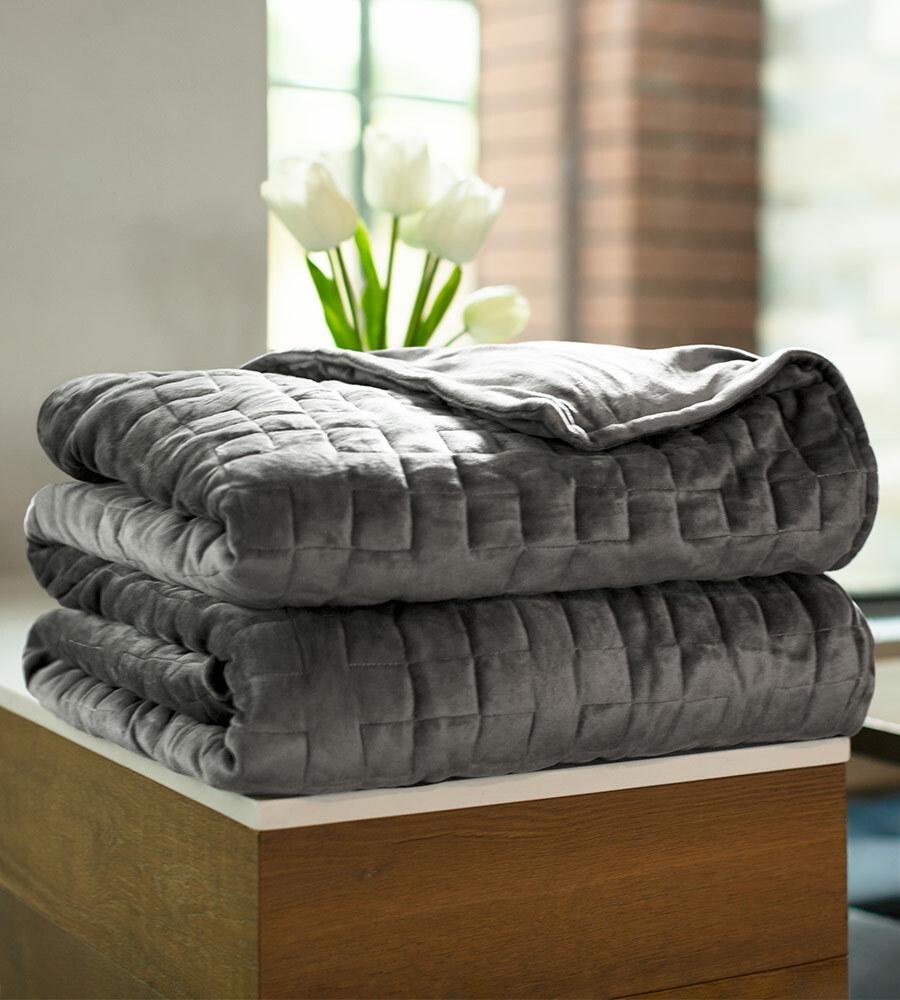 gray bamboo blanket folded